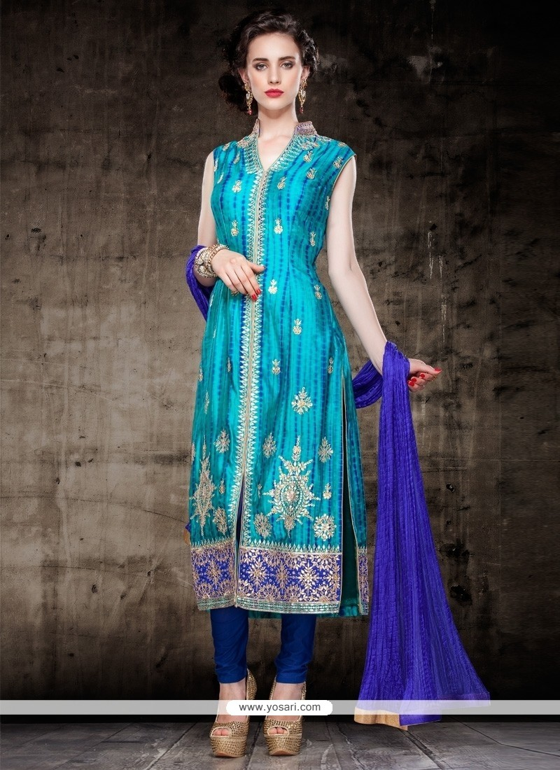 Demure Cutdana Work Turquoise Cotton Silk Churidar Salwar Kameez