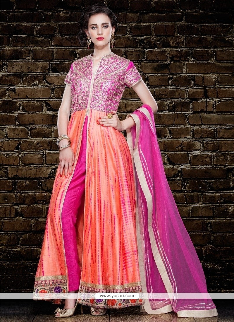 Hypnotic Peach Resham Work Pant Style Suit