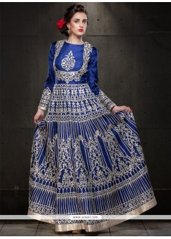 Versatile Resham Work Tussar Silk Blue Floor Length Anarkali Suit
