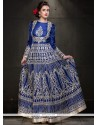 Versatile Resham Work Tussar Silk Blue Floor Length Anarkali Suit