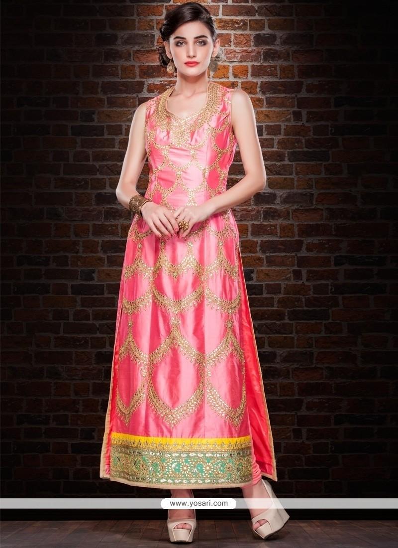 Vivid Pink Designer Straight Salwar Kameez