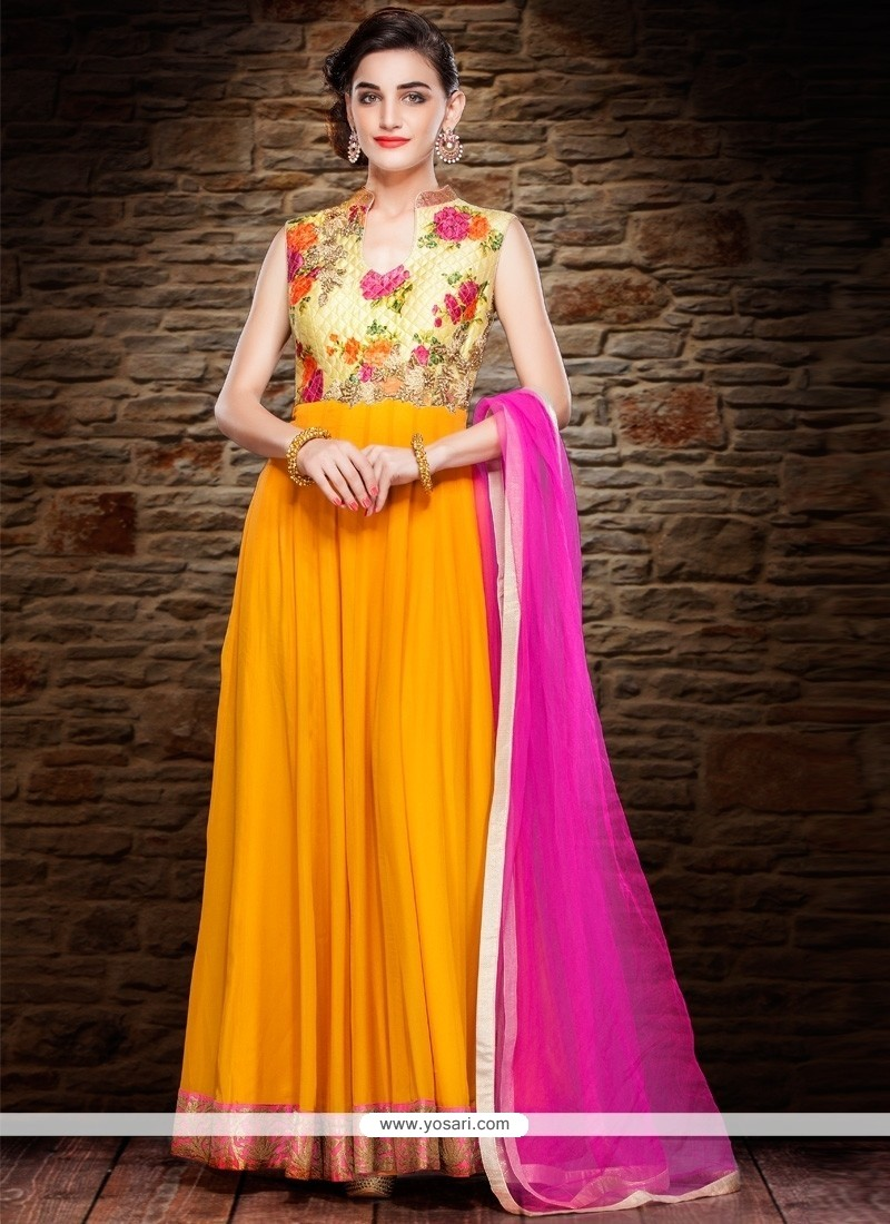 Especial Net Yellow Resham Work Anarkali Salwar Suit