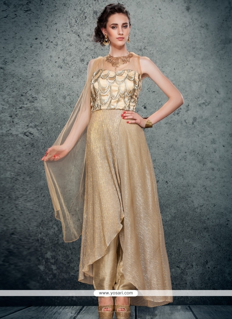 Enthralling Resham Work Shimmer Georgette Pant Style Suit