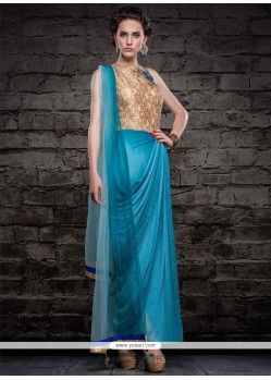 63396b93a7 Shop online Demure Cutdana Work Turquoise Cotton Silk Churidar ...
