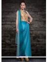 Versatile Embroidered Work Turquoise Net Designer Salwar Kameez