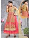 Lively Resham Work Net Pink Anarkali Salwar Kameez