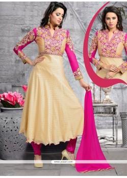 Dashing Kasab Work Faux Chiffon Cream And Pink Anarkali Salwar Kameez