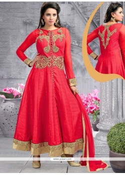 Debonair Red Embroidered Work Raw Silk Anarkali Salwar Kameez