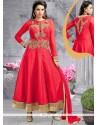 Debonair Red Embroidered Work Raw Silk Anarkali Salwar Kameez
