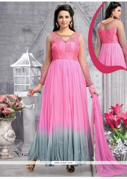 Graceful Stone Work Georgette Pink Anarkali Salwar Kameez