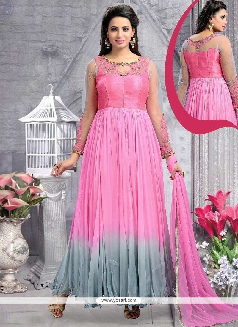 Graceful Stone Work Georgette Pink Anarkali Salwar Kameez