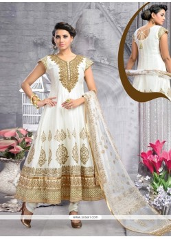 Classical Off White Embroidered Work Raw Silk Anarkali Salwar Kameez