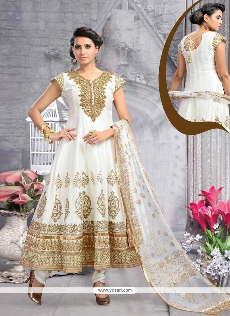Classical Off White Embroidered Work Raw Silk Anarkali Salwar Kameez