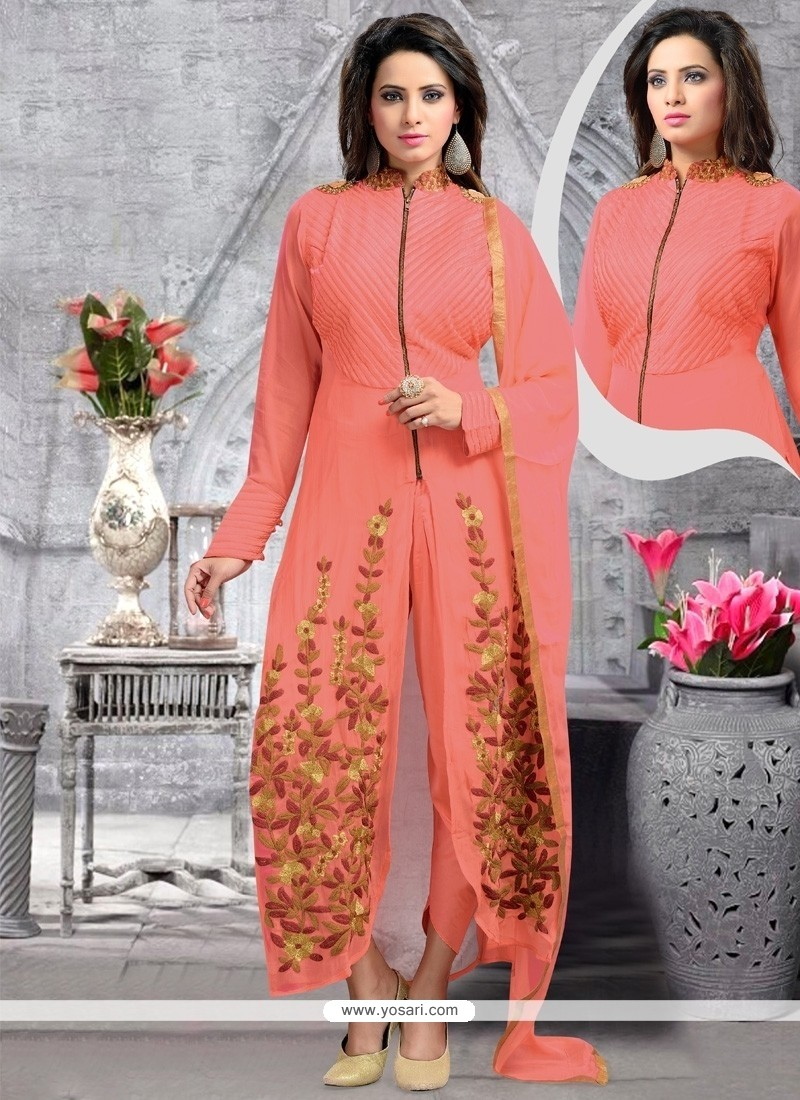 Gripping Peach Designer Suit