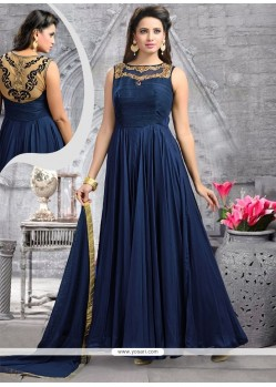 Sensible Navy Blue Resham Work Silk Anarkali Salwar Kameez