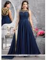 Sensible Navy Blue Resham Work Silk Anarkali Salwar Kameez
