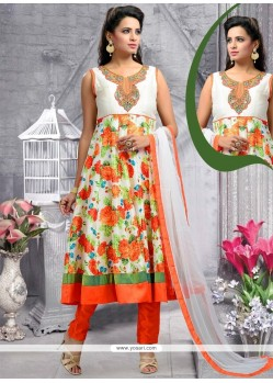 Fabulous Resham Work Art Silk Multi Colour Designer Suit
