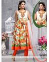 Fabulous Resham Work Art Silk Multi Colour Designer Suit