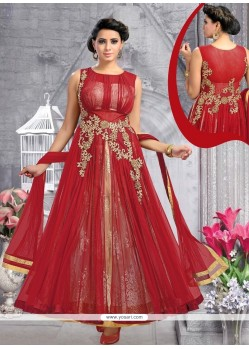 Desirable Maroon Anarkali Salwar Kameez
