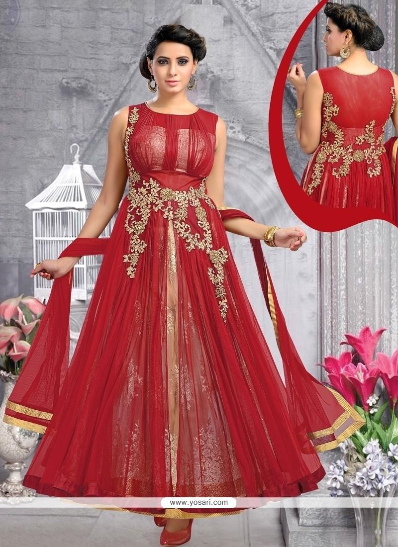 Desirable Maroon Anarkali Salwar Kameez