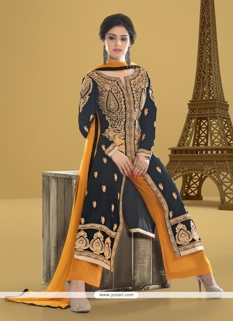 3cc989496c Shop online Intriguing Lace Work Velvet Designer Pakistani Salwar Suit