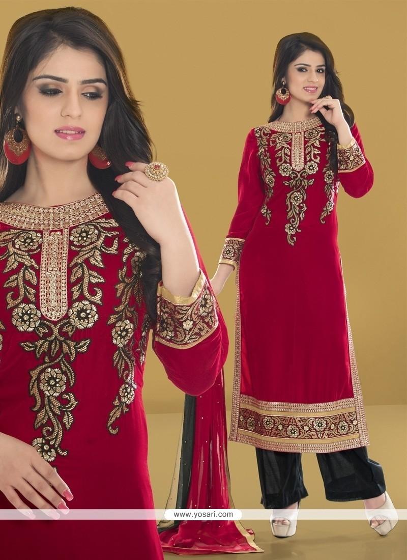 Invaluable Maroon Designer Pakistani Salwar Suit