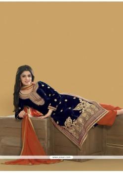 Honourable Embroidered Work Velvet Designer Pakistani Suit