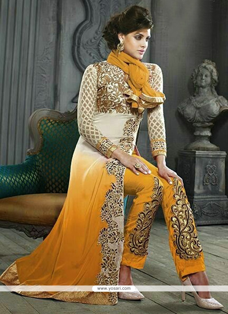 Breathtaking Mustard Georgette Pakistani Suit