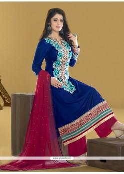 Superlative Resham Work Blue Designer Pakistani Salwar Suit