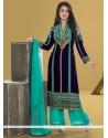 Outstanding Resham Work Velvet Blue Designer Pakistani Suit