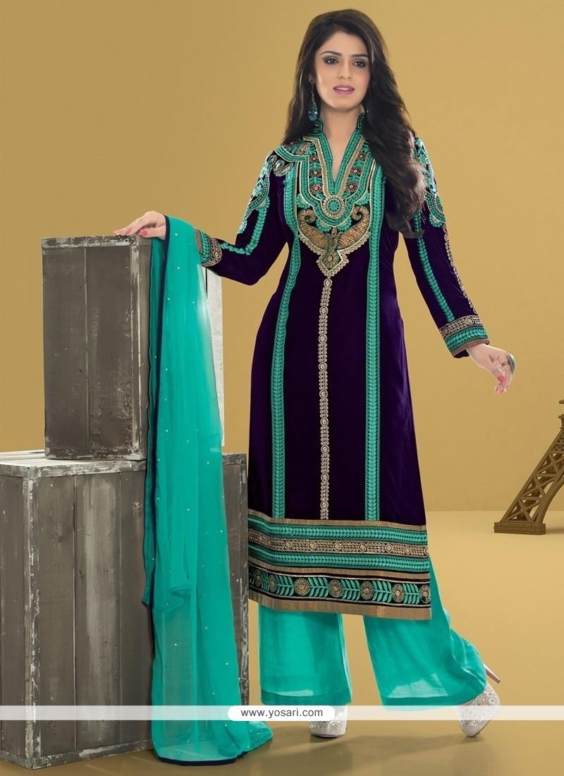 ab75e1a8da Shop online Outstanding Resham Work Velvet Blue Designer Pakistani Suit