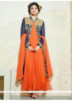 Jazzy Orange Embroidered Work Anarkali Salwar Kameez