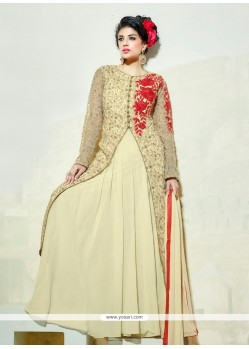 Customary Embroidered Work Net Cream Anarkali Salwar Suit
