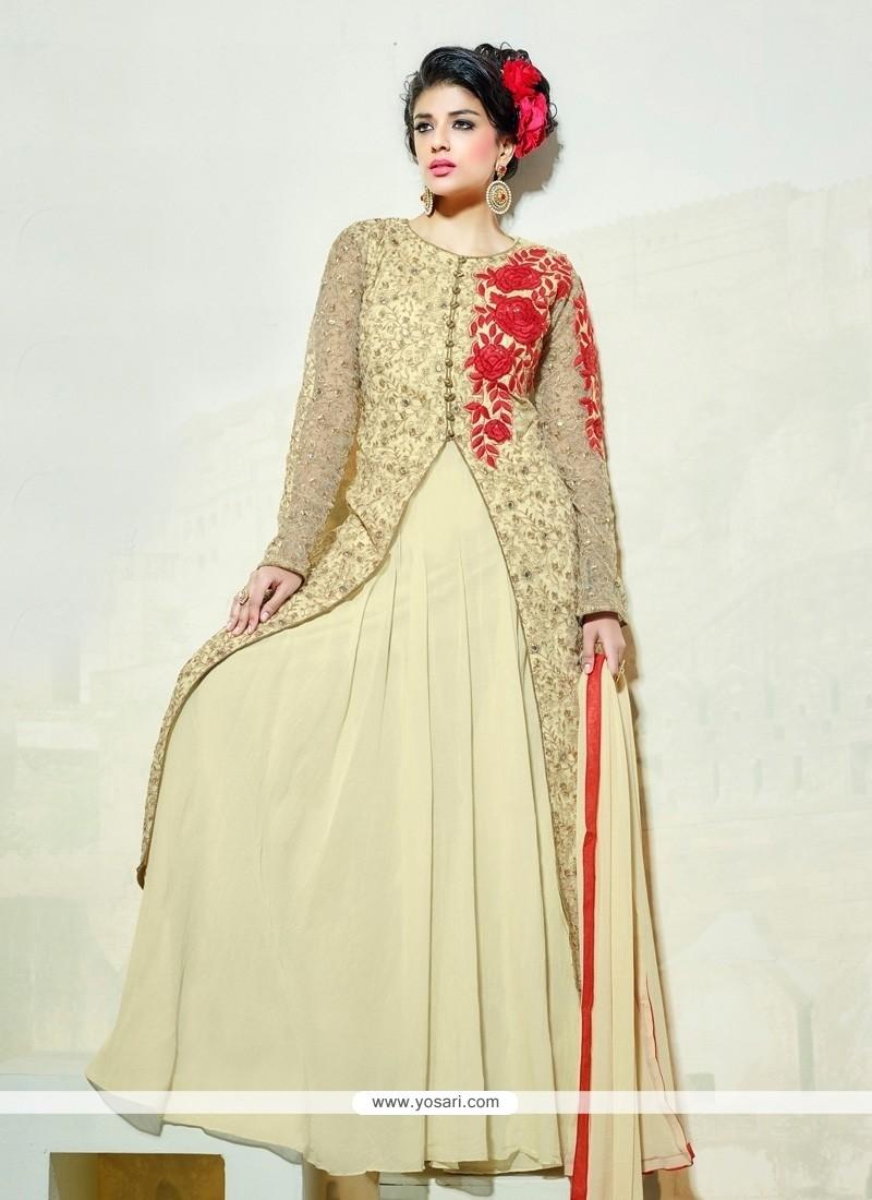 Customary Embroidered Work Net Cream Anarkali Salwar Suit