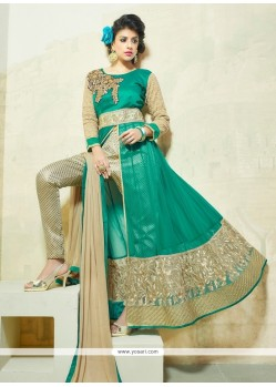 Engrossing Net Beige And Sea Green Resham Work Pant Style Suit