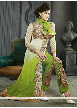 Bedazzling Green Shaded Embroidery Pakistani Suit