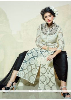 Jazzy Black And Off White Cotton Designer Salwar Kameez