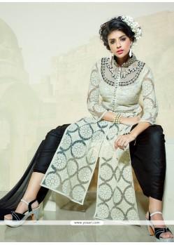 Jazzy Black And Off White Cotton Designer Salwar Kameez
