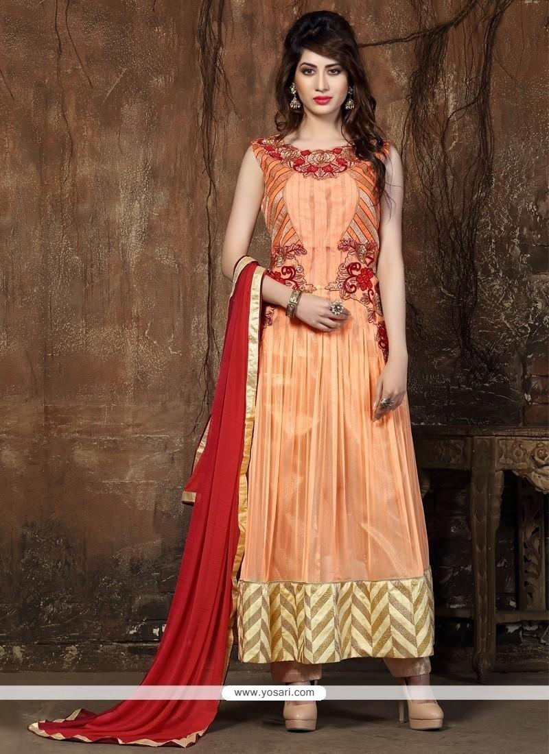 Topnotch Resham Work Orange Viscose Anarkali Salwar Suit