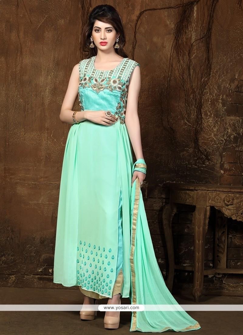 Sophisticated Resham Work Georgette Designer Straight Salwar Kameez