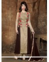 Competent Georgette Brown Anarkali Suit