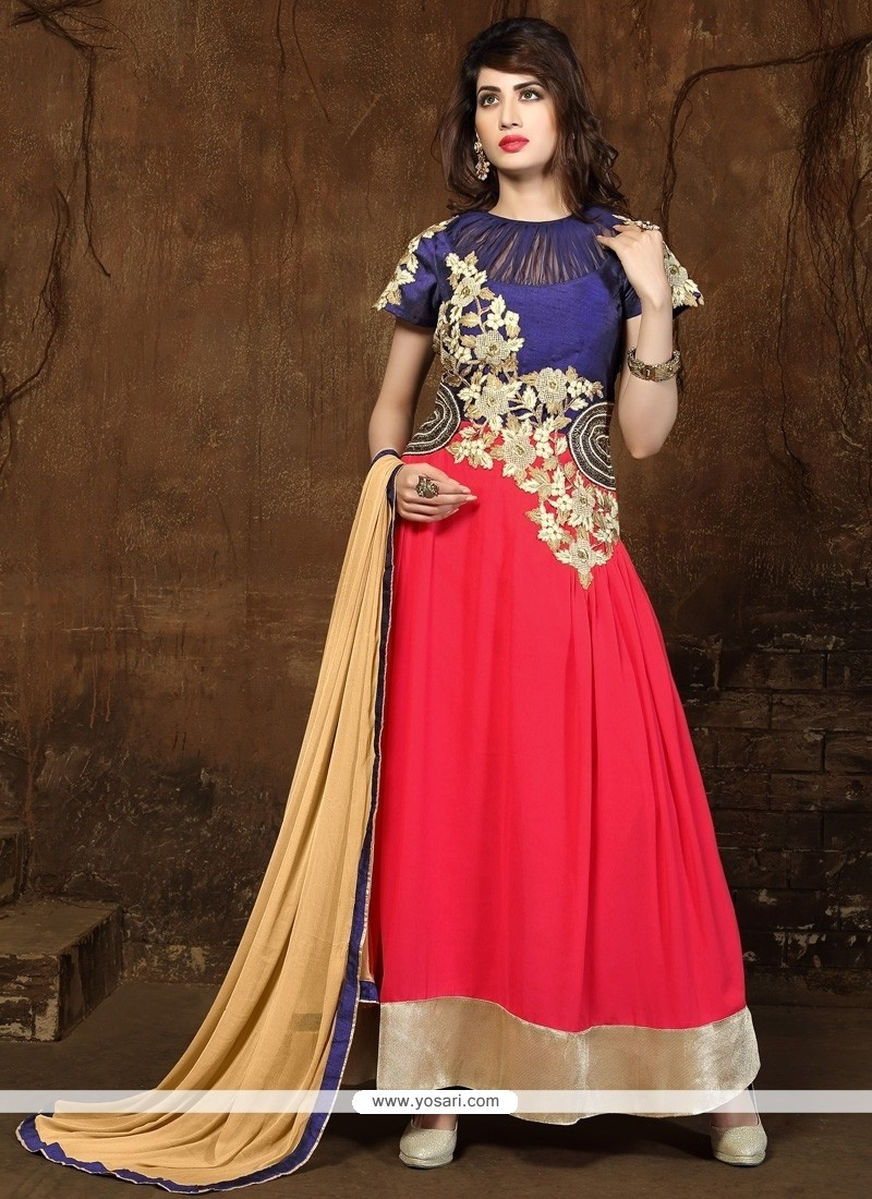 Immaculate Georgette Red Embroidered Work Anarkali Salwar Suit