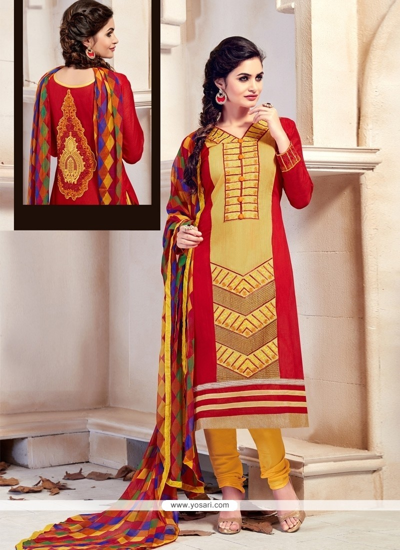Absorbing Chanderi Red And Yellow Embroidered Work Churidar Designer Suit