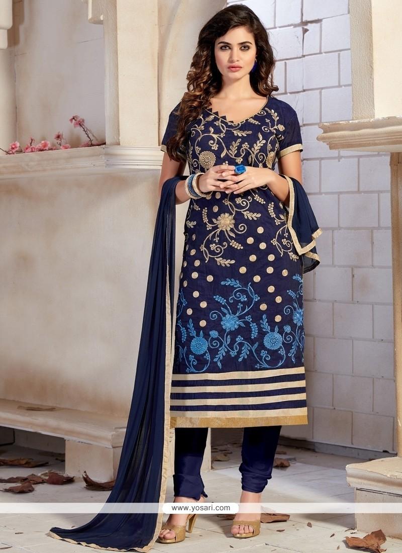 Orphic Chanderi Navy Blue Churidar Designer Suit