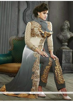 Angelic Grey Shaded Georgette Pakistani Suit