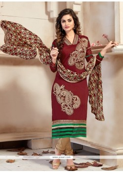 Modern Lace Work Maroon Chanderi Churidar Designer Suit