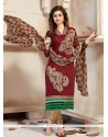 Modern Lace Work Maroon Chanderi Churidar Designer Suit