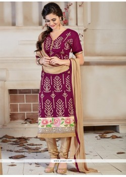 Amusing Embroidered Work Wine Churidar Designer Suit
