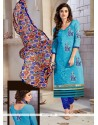 Catchy Embroidered Work Blue Churidar Designer Suit