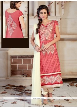 Urbane Chanderi Peach Lace Work Churidar Designer Suit